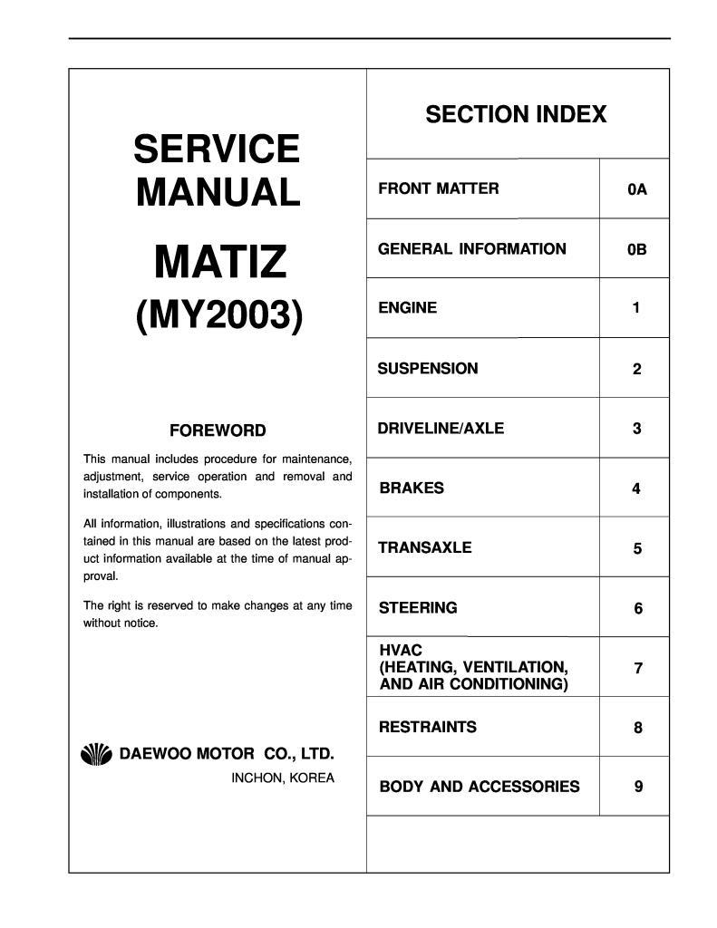 Vehicle Parts & Accessories Car Manuals & Literature CHEVROLET Matiz spark  Workshop Service Repair Manual 2006-2009 DISC   Chevrolet Matiz 2009 Manual      Hoof Prints Ranch RV Park and Horse Motel